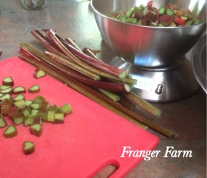Wash and chop the rhubarb.