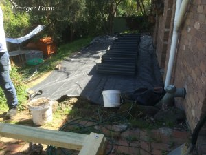 The raised beds on top of the weed mat.
